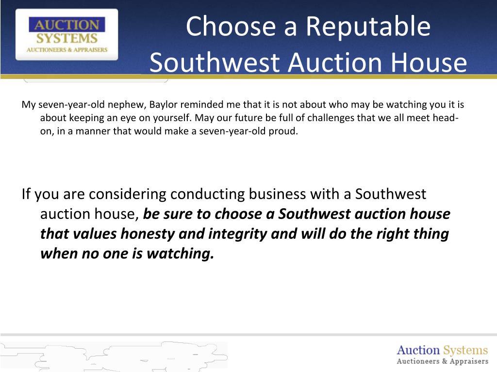 Choose a Reputable Southwest Auction House