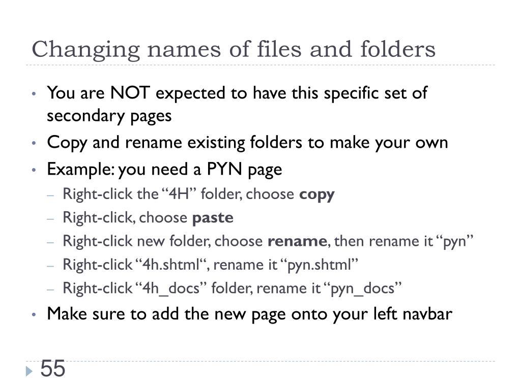 Changing names of files and folders