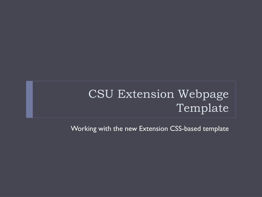 CSU Extension Webpage Template