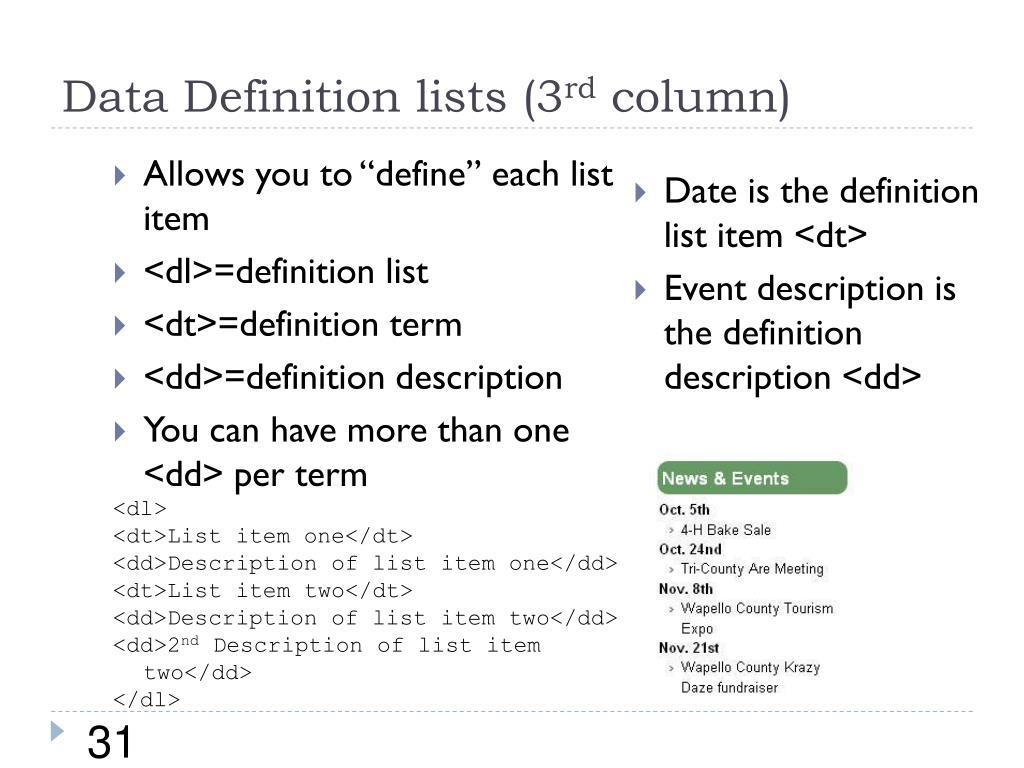 Data Definition lists (3