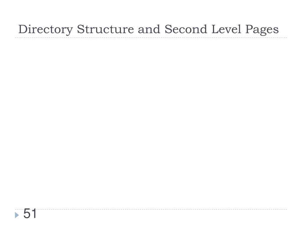 Directory Structure and Second Level Pages