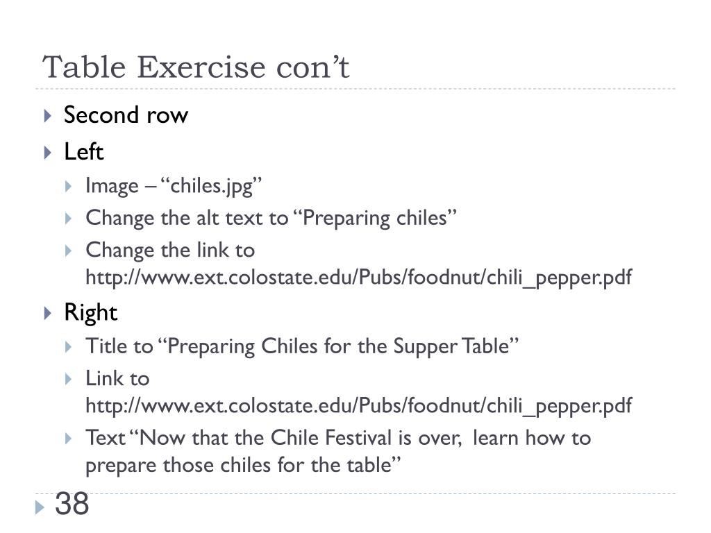Table Exercise con't