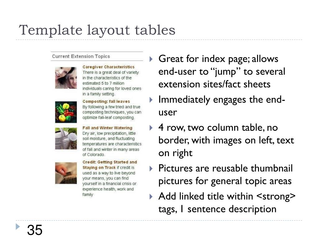 Template layout tables