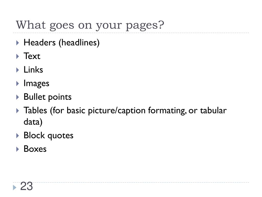 What goes on your pages?