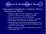 research method and ideas