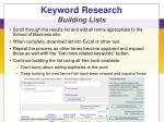keyword research building lists