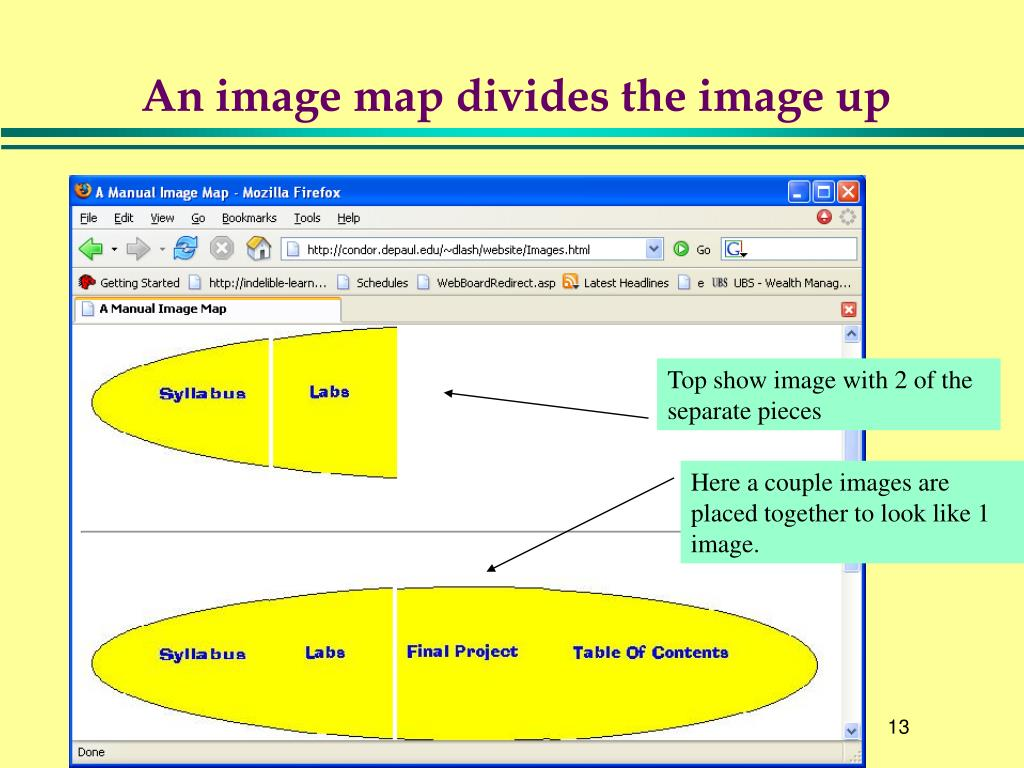 An image map divides the image up