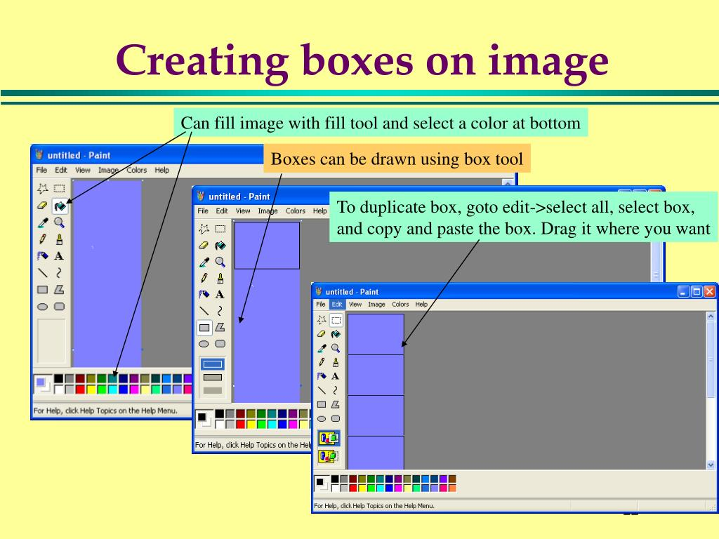 Creating boxes on image