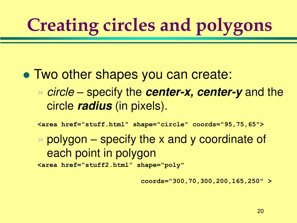 Creating circles and polygons