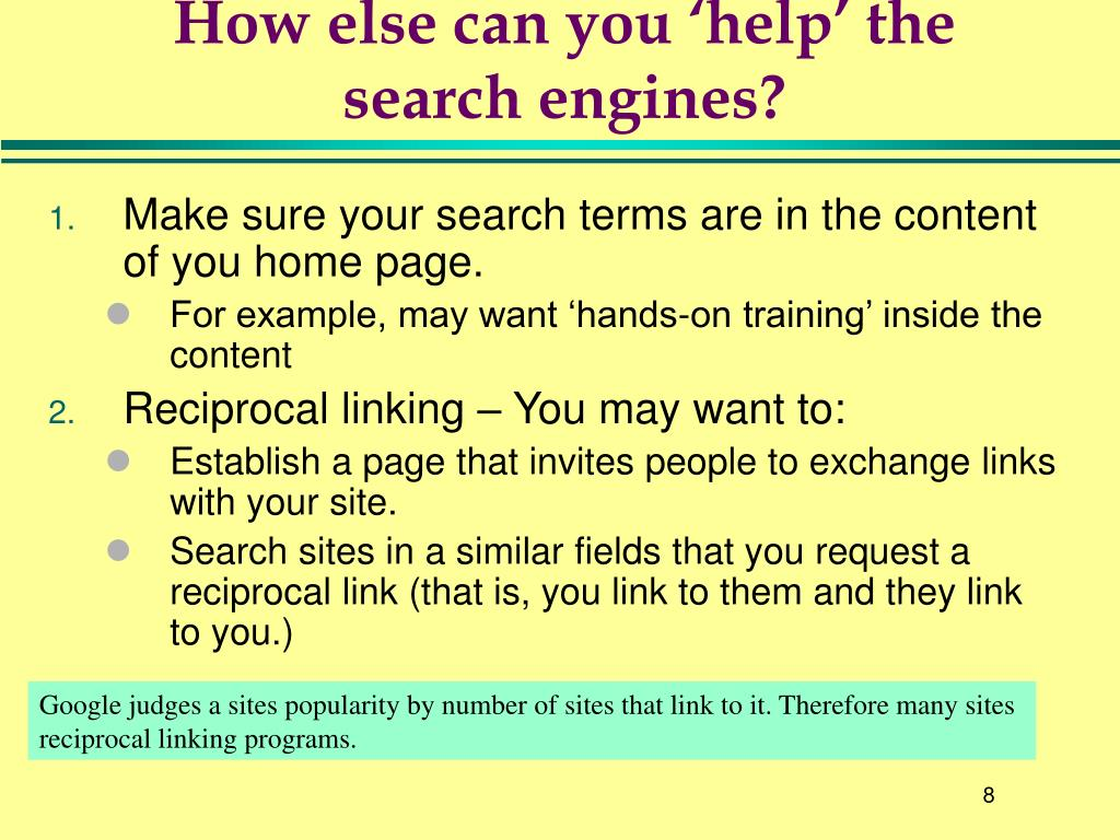 How else can you 'help' the search engines?