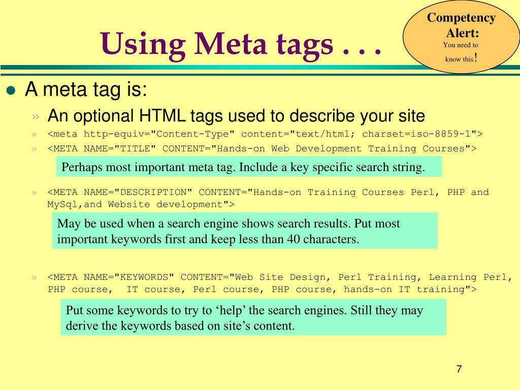 Using Meta tags . . .