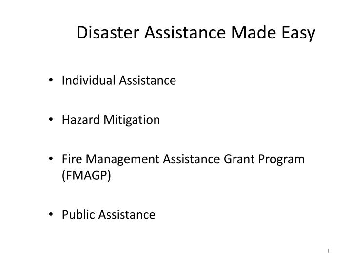 disaster assistance made easy n.