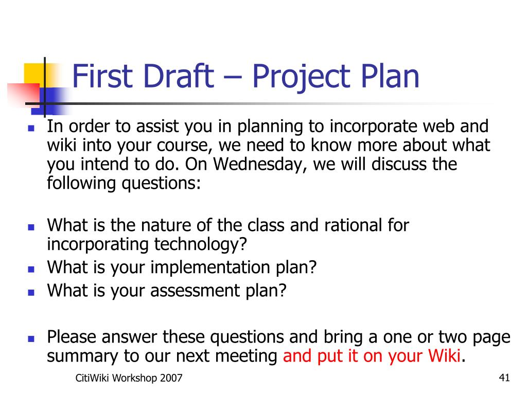 First Draft – Project Plan