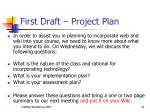 first draft project plan