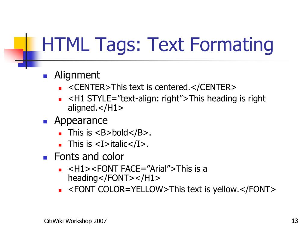 HTML Tags: Text Formating