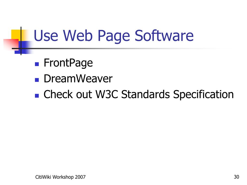 Use Web Page Software