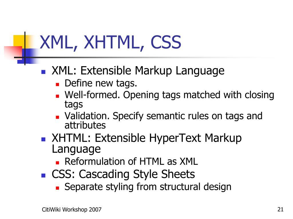 XML, XHTML, CSS