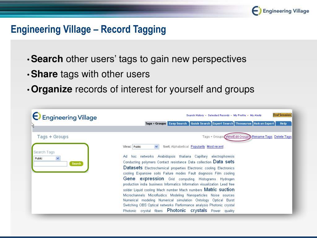 Engineering Village – Record Tagging