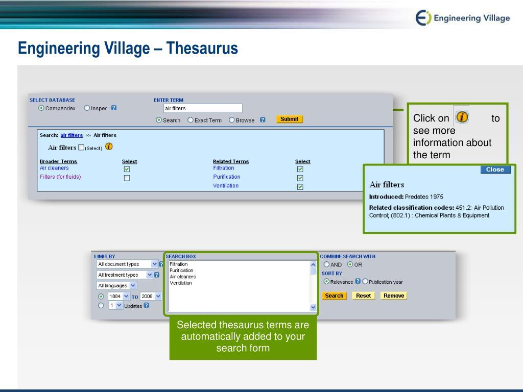 Engineering Village – Thesaurus