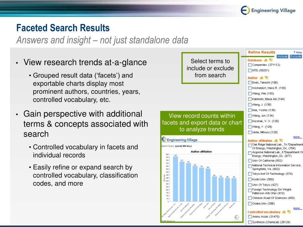 View record counts within facets and export data or chart