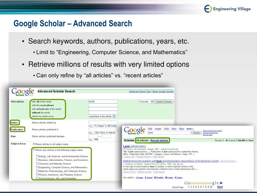 Google Scholar – Advanced Search