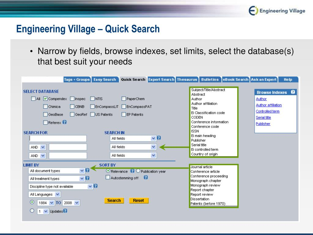 Engineering Village – Quick Search