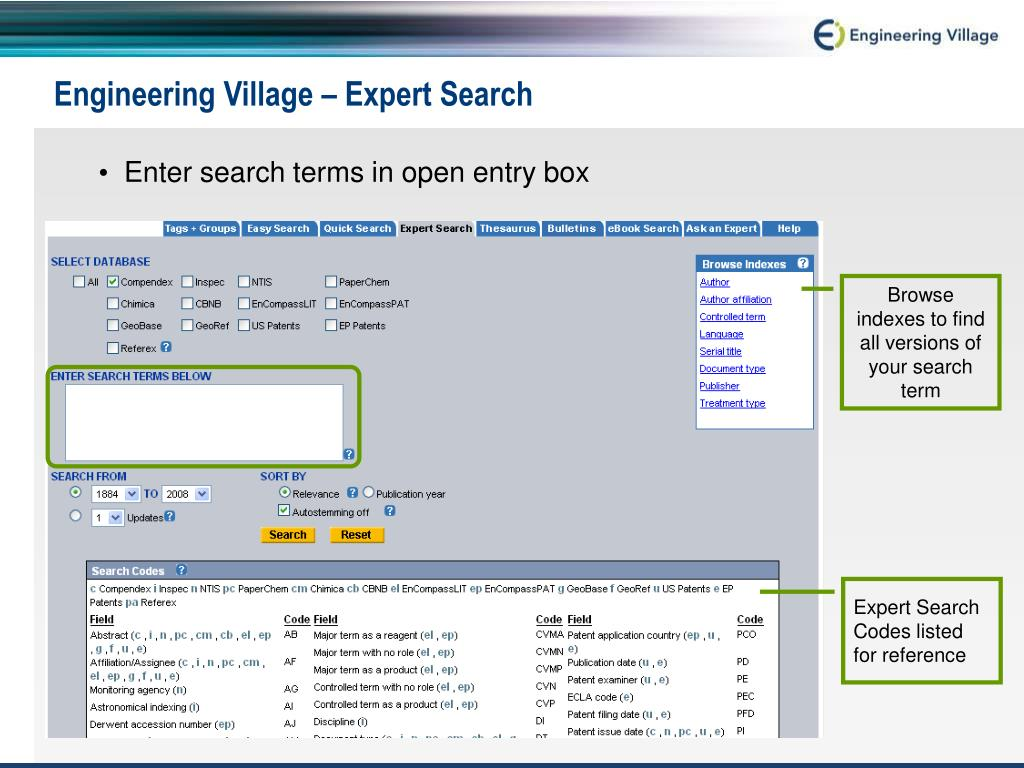 Engineering Village – Expert Search