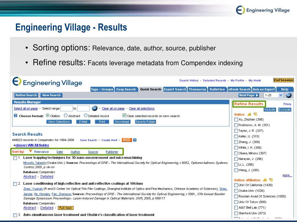 Engineering Village - Results