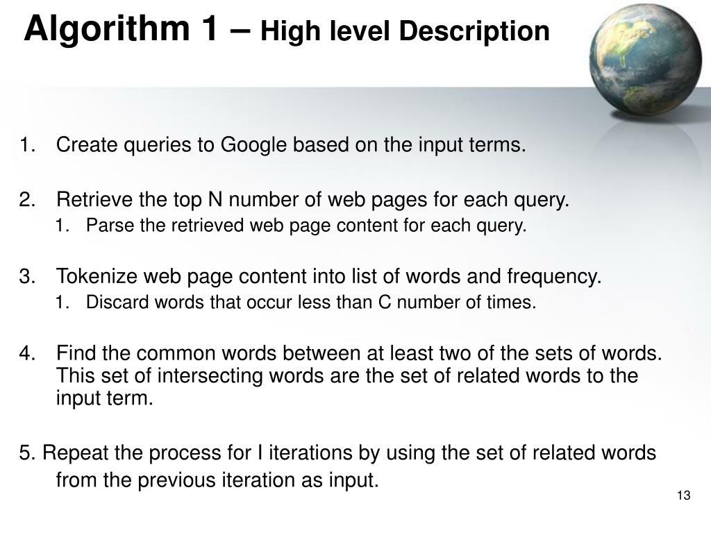 Algorithm 1 –
