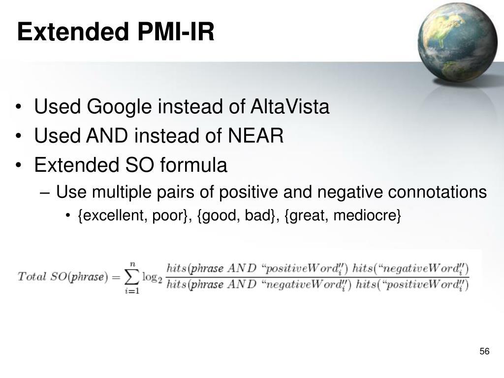 Extended PMI-IR