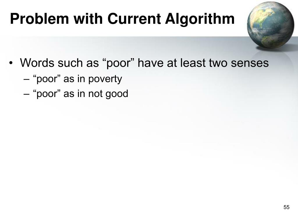 Problem with Current Algorithm