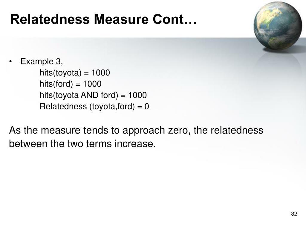 Relatedness Measure Cont…