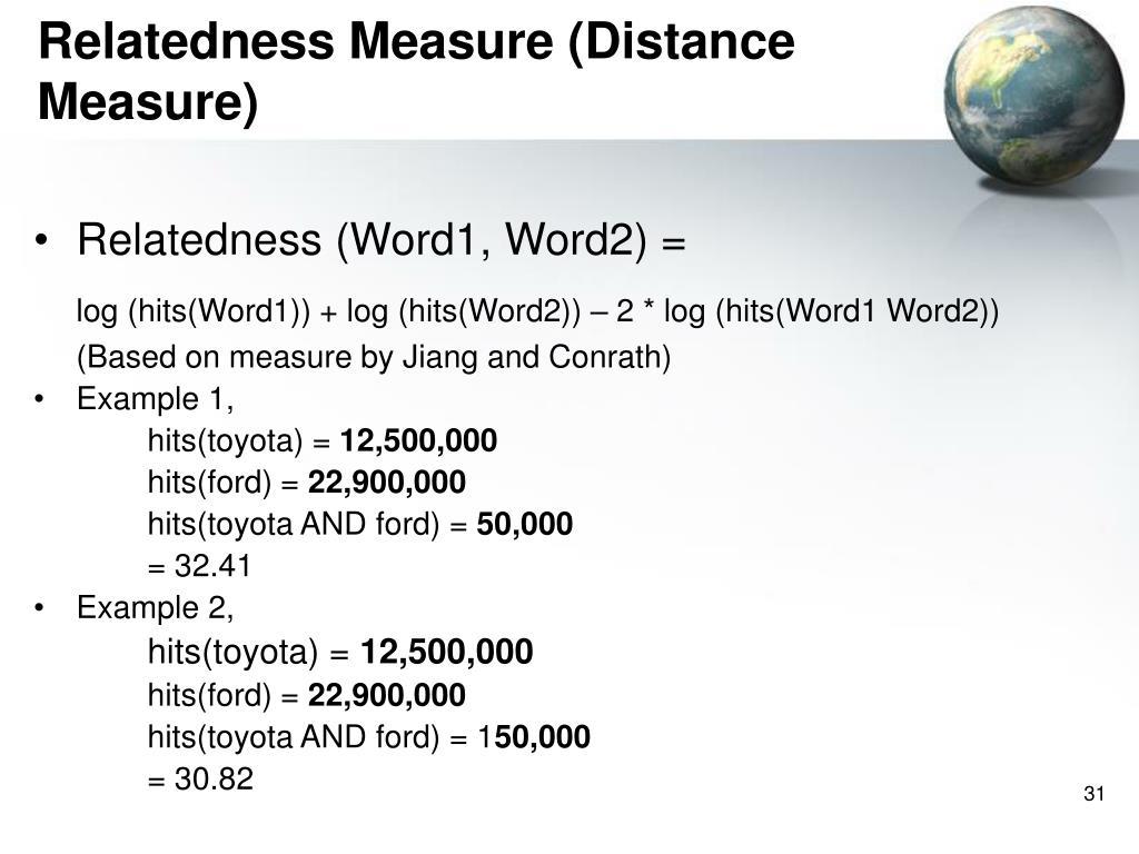 Relatedness Measure (Distance Measure)