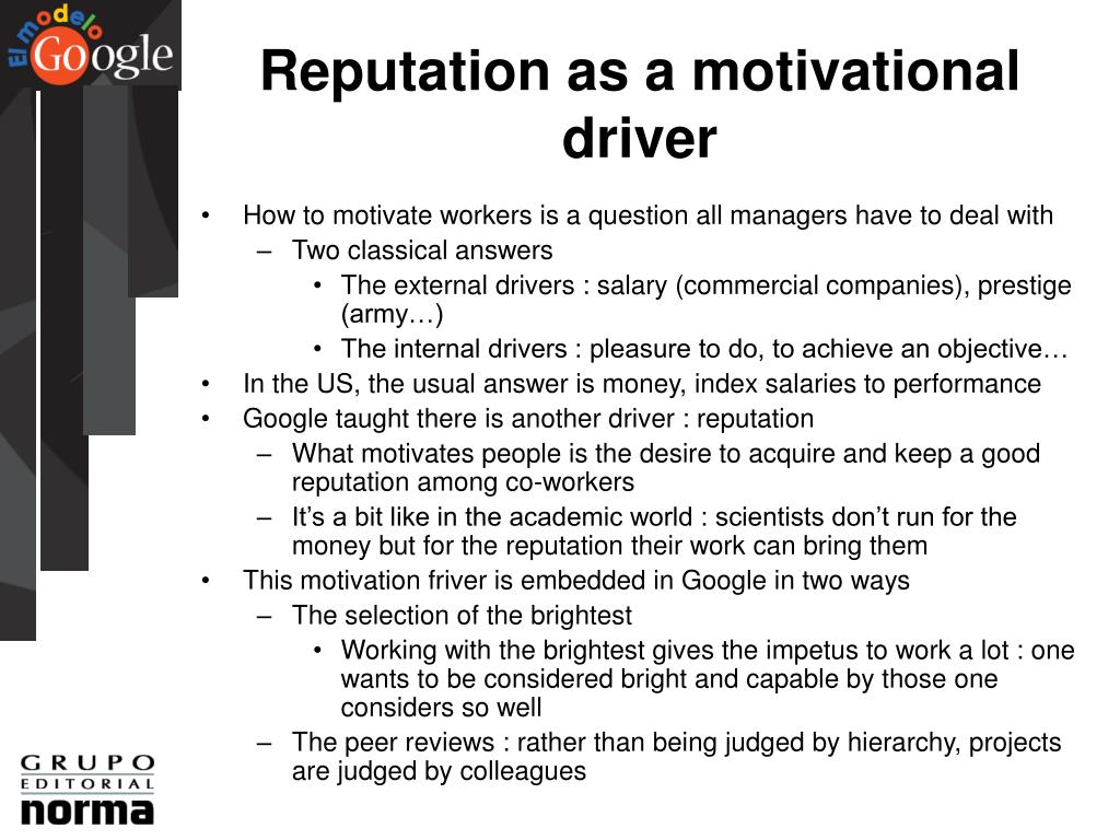 Reputation as a motivational driver