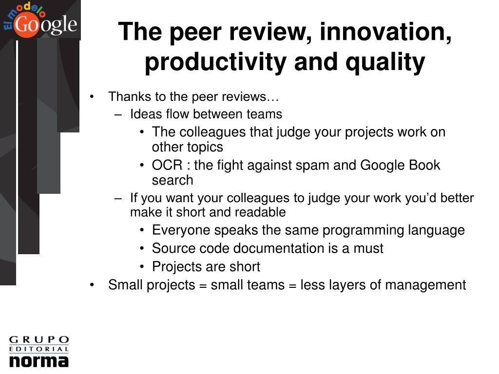 The peer review, innovation, productivity and quality