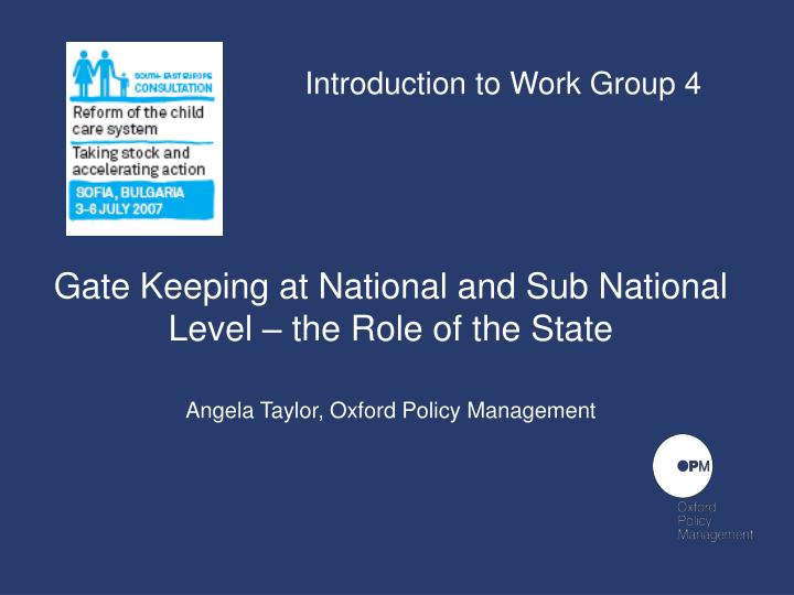 Introduction to Work Group 4
