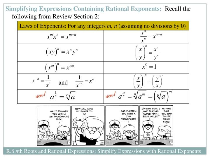 Simplifying Expressions Containing Rational Exponents: