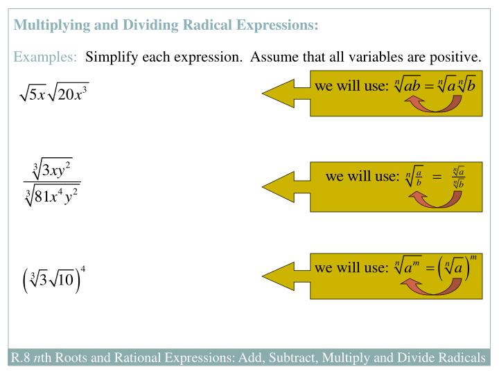 Multiplying and Dividing Radical Expressions: