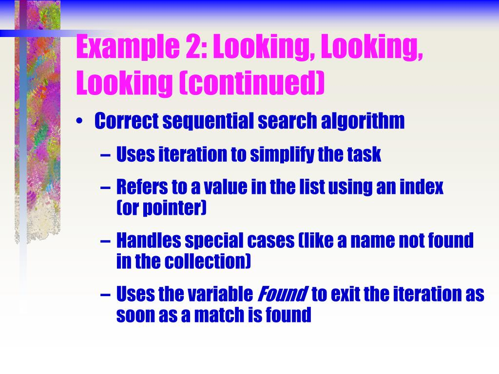Example 2: Looking, Looking, Looking (continued)