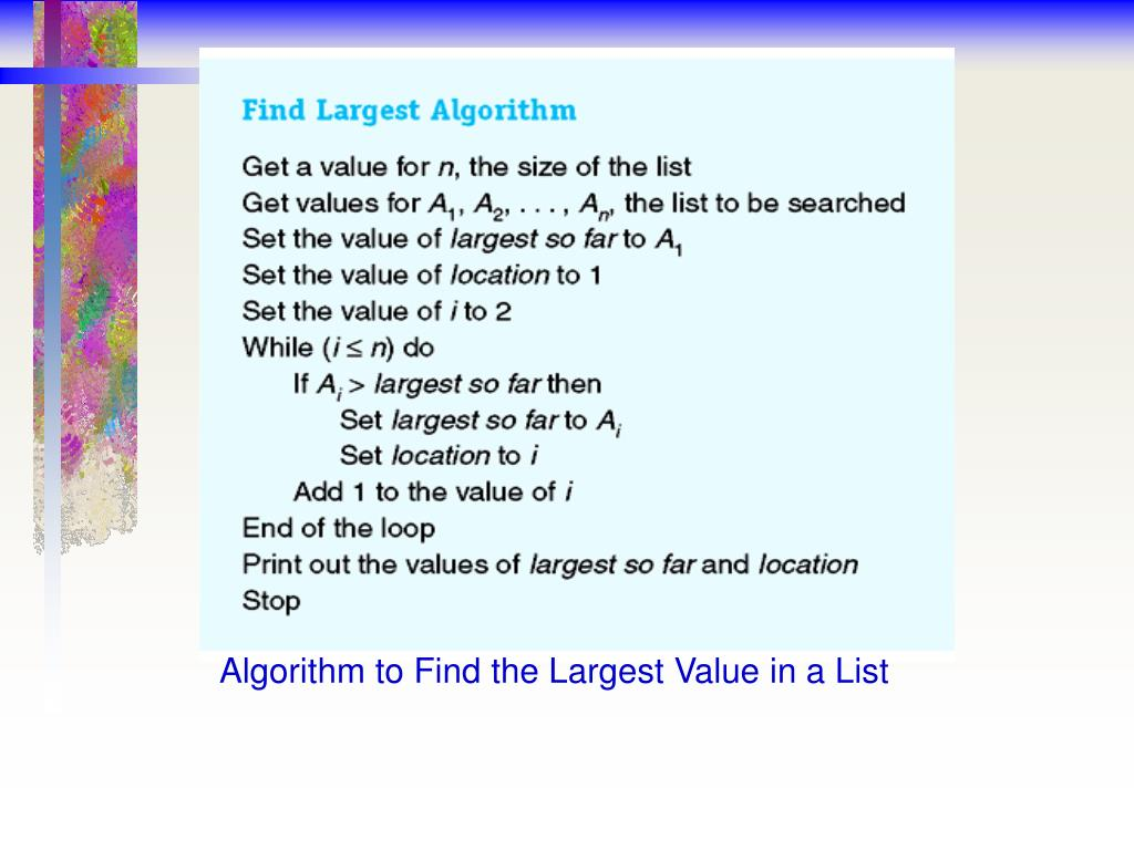 Algorithm to Find the Largest Value in a List