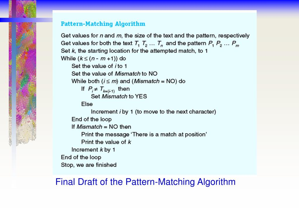 Final Draft of the Pattern-Matching Algorithm