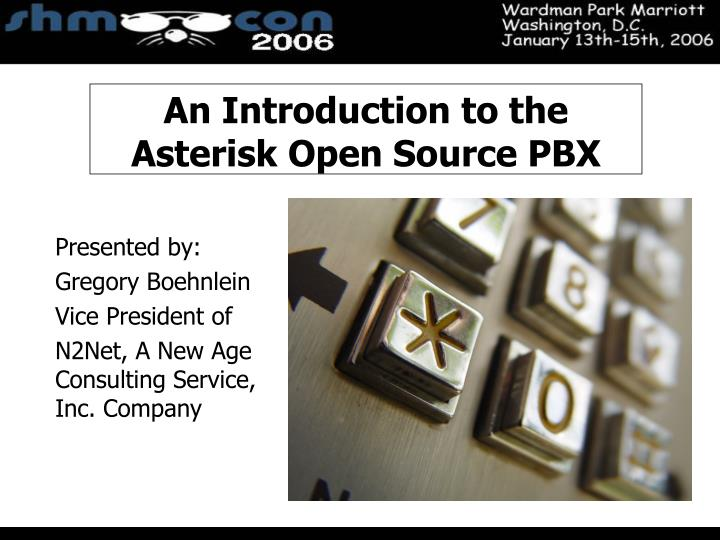 introduction to the asterisk open source - asterisk introduction asterisk is an open-source software implementation of a pbx (private branch exchange) like any pbx, it allows a number of attached telephones to make calls to one another, and to connect to other telephone services including the pstn, isdn or to a voip provider.