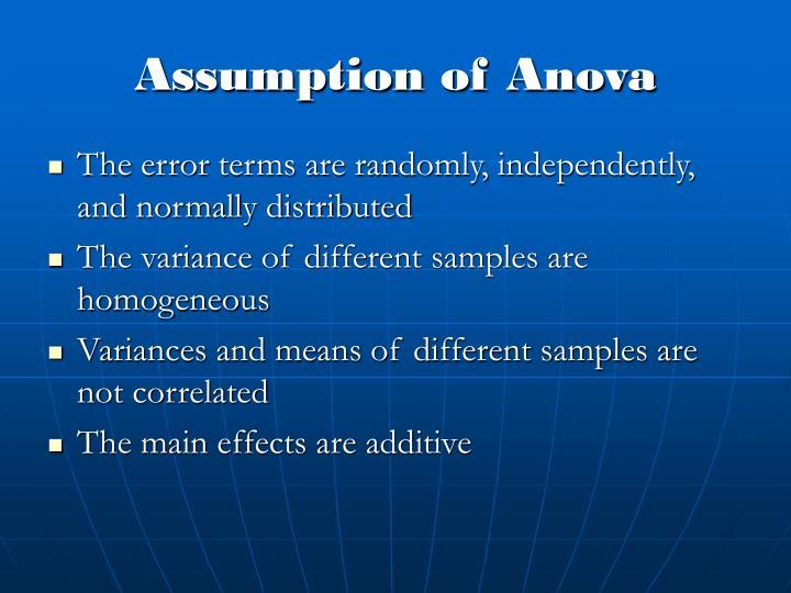 Assumption of anova