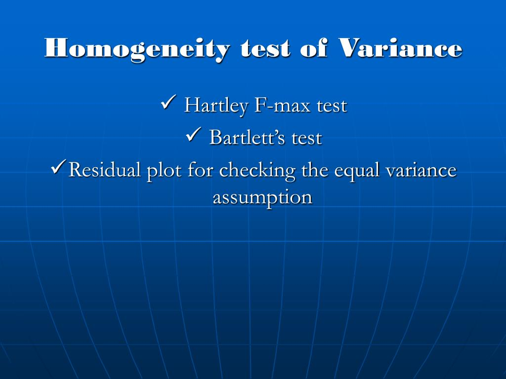 Homogeneity test of Variance