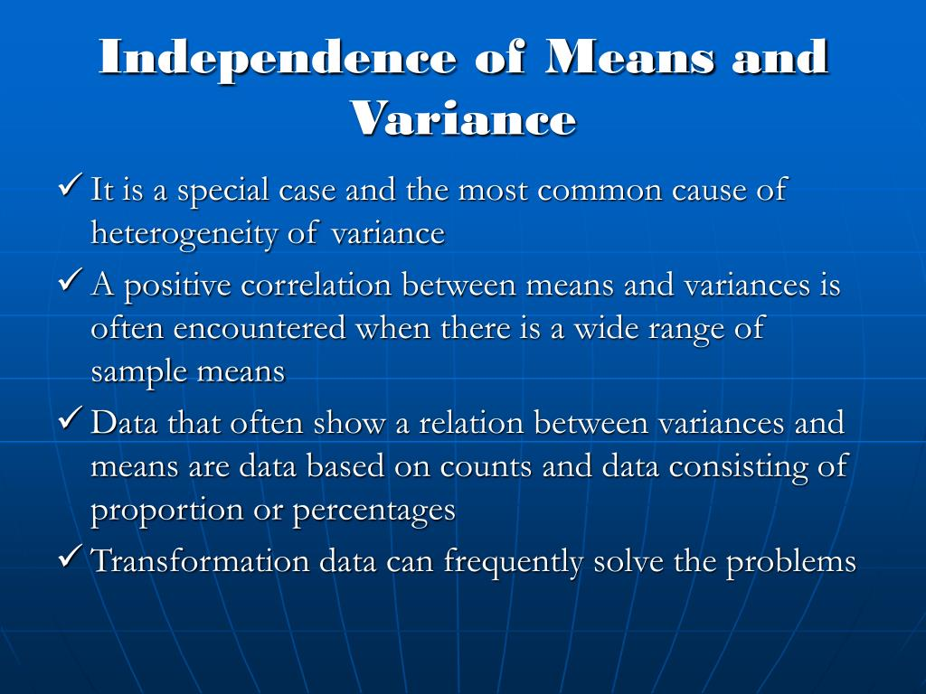 Independence of Means and Variance
