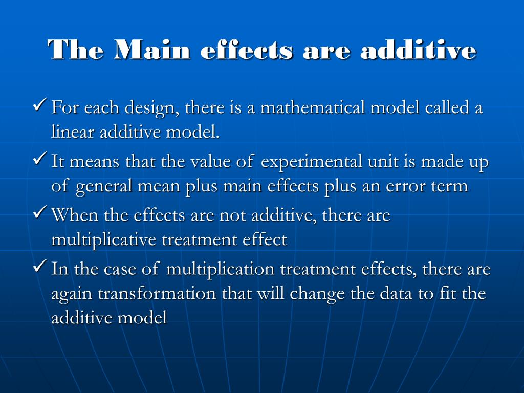 The Main effects are additive