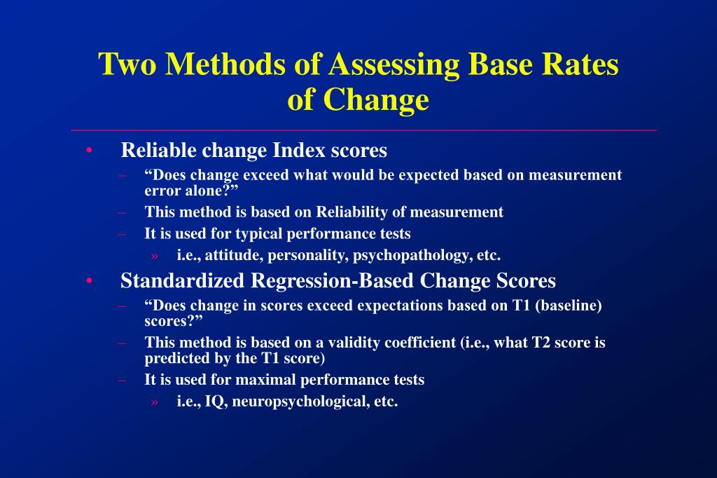 Two Methods of Assessing Base Rates of Change