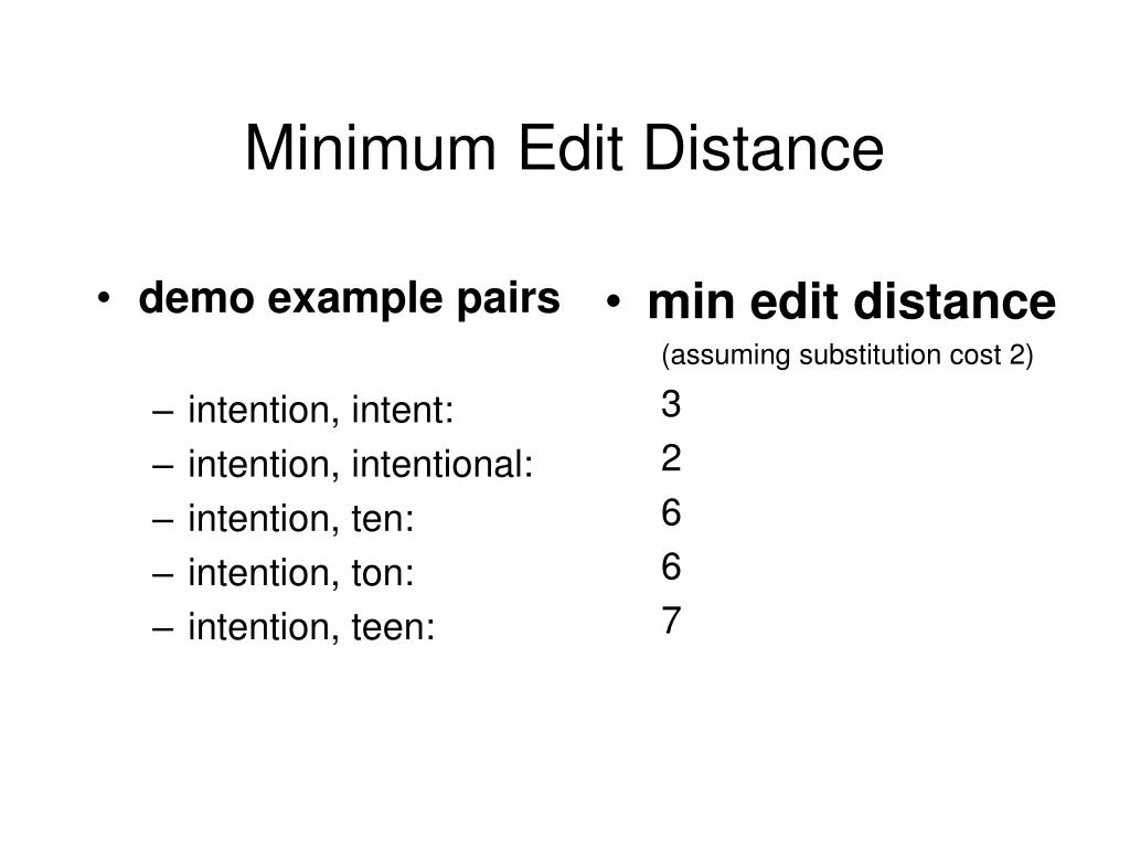 Minimum Edit Distance