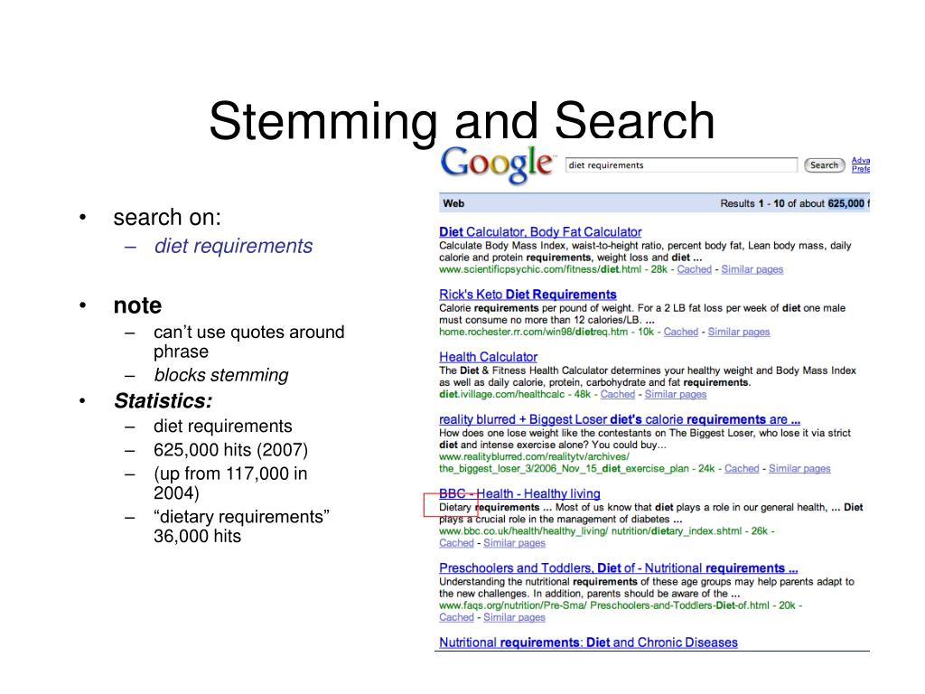 Stemming and Search