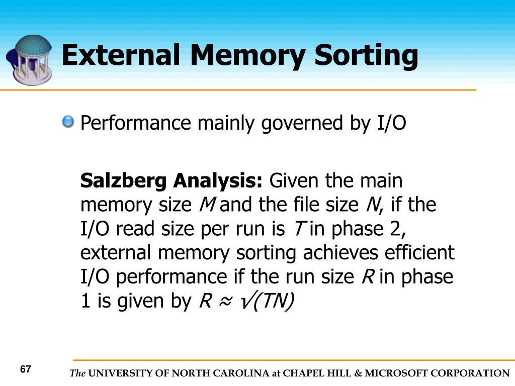 External Memory Sorting